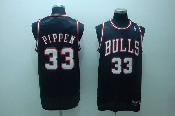 Bulls #33 Scottie Pippen Stitched Black White Number NBA Jersey