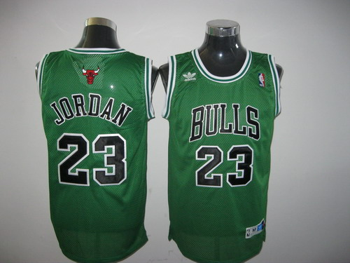 Bulls Throwback #23 Michael Jordan Green Stitched NBA Jersey