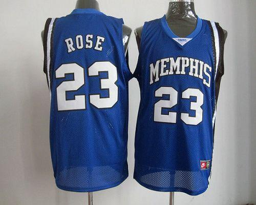 Bulls #23 Derrick Rose Blue Memphis Tigers High School Stitched NBA Jersey