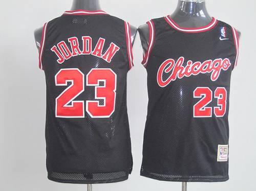 Bulls #23 Michael Jordan Black Nike Throwback Stitched NBA Jersey