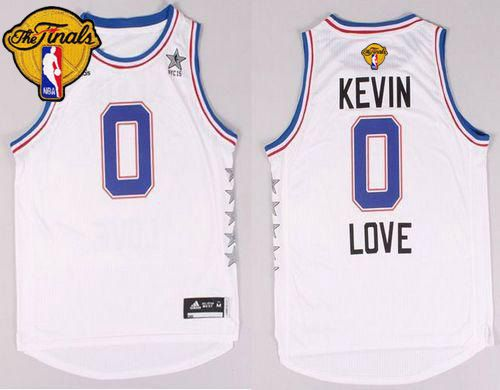 Cavaliers #0 Kevin Love White 2015 All Star The Finals Patch Stitched NBA Jersey