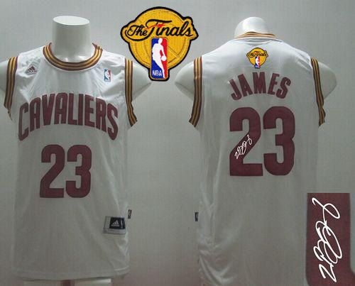 Revolution 30 Autographed Cavaliers #23 LeBron James White Home The Finals Patch Stitched NBA Jersey