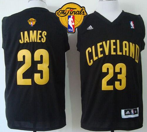 Cavaliers #23 LeBron James Black Fashion The Finals Patch Stitched NBA Jersey