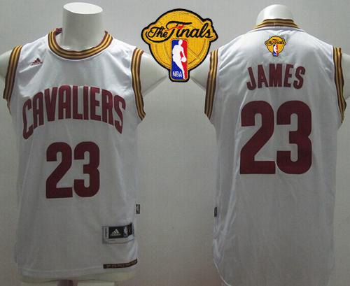 Revolution 30 Cavaliers #23 LeBron James White Home The Finals Patch Stitched NBA Jersey