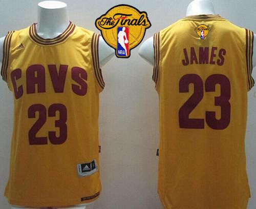 Revolution 30 Cavaliers #23 LeBron James Yellow Alternate The Finals Patch Stitched NBA Jersey