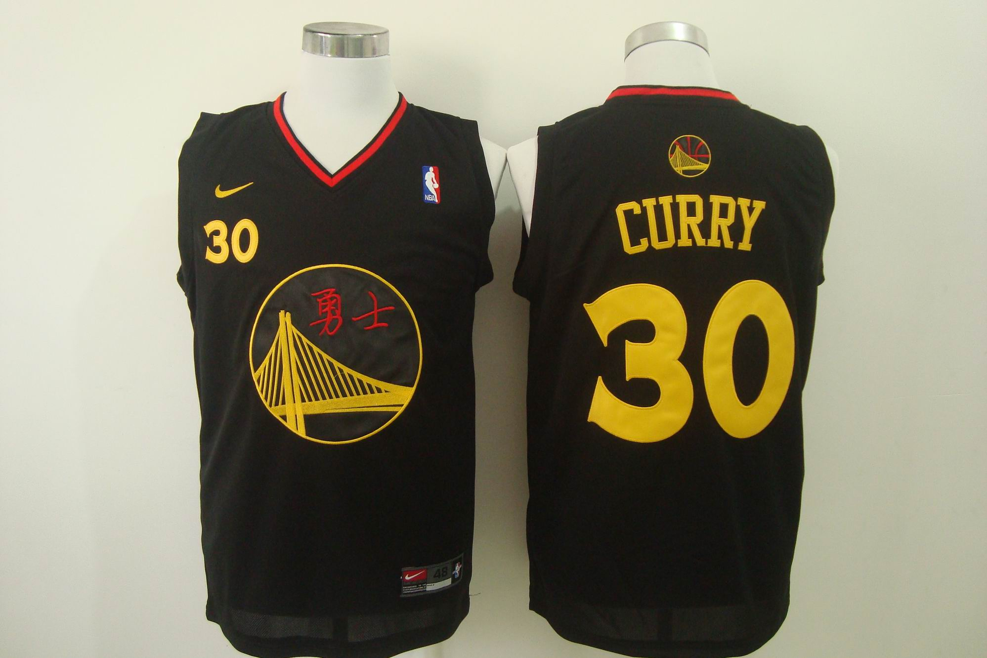 Men's Nike Golden State Warriors #30 Stephen Curry Chinese Black Authentic Stitched NBA Jersey