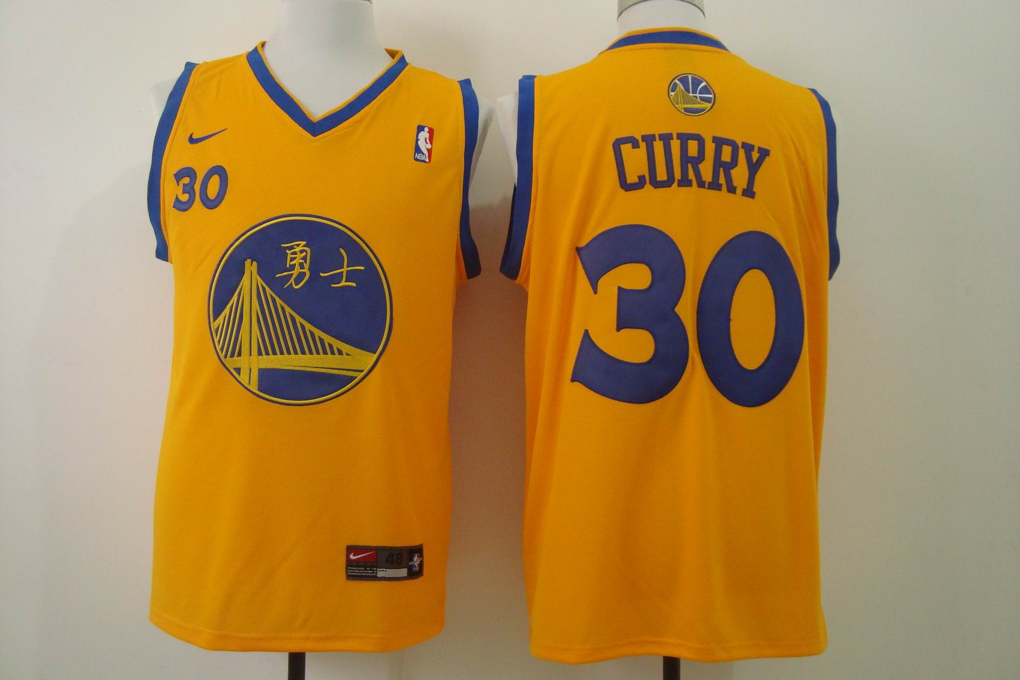 Men's Nike Golden State Warriors #30 Stephen Curry Chinese Yellow Authentic Stitched NBA Jersey