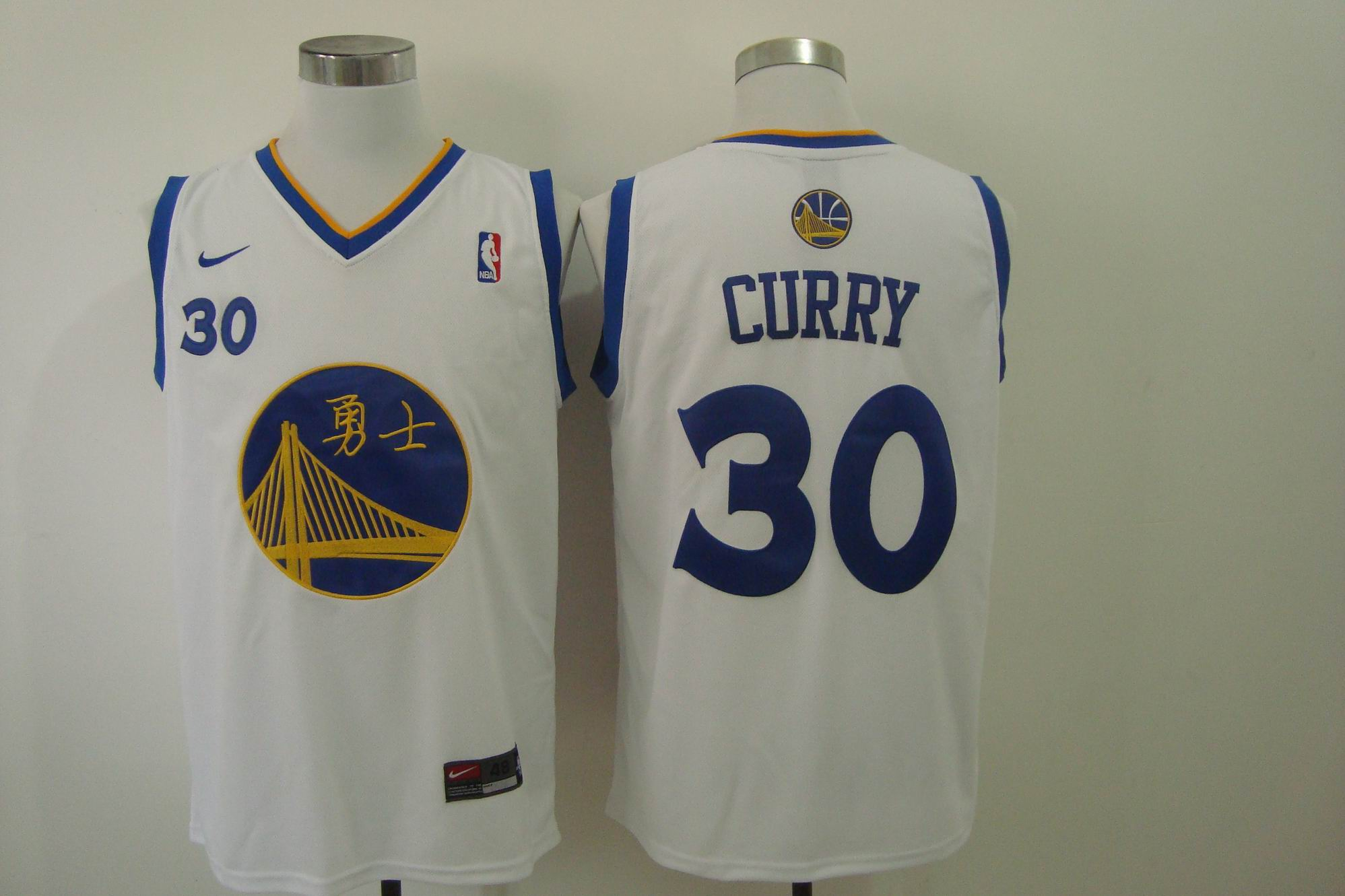 Men's Nike Golden State Warriors #30 Stephen Curry Chinese White Authentic Stitched NBA Jersey