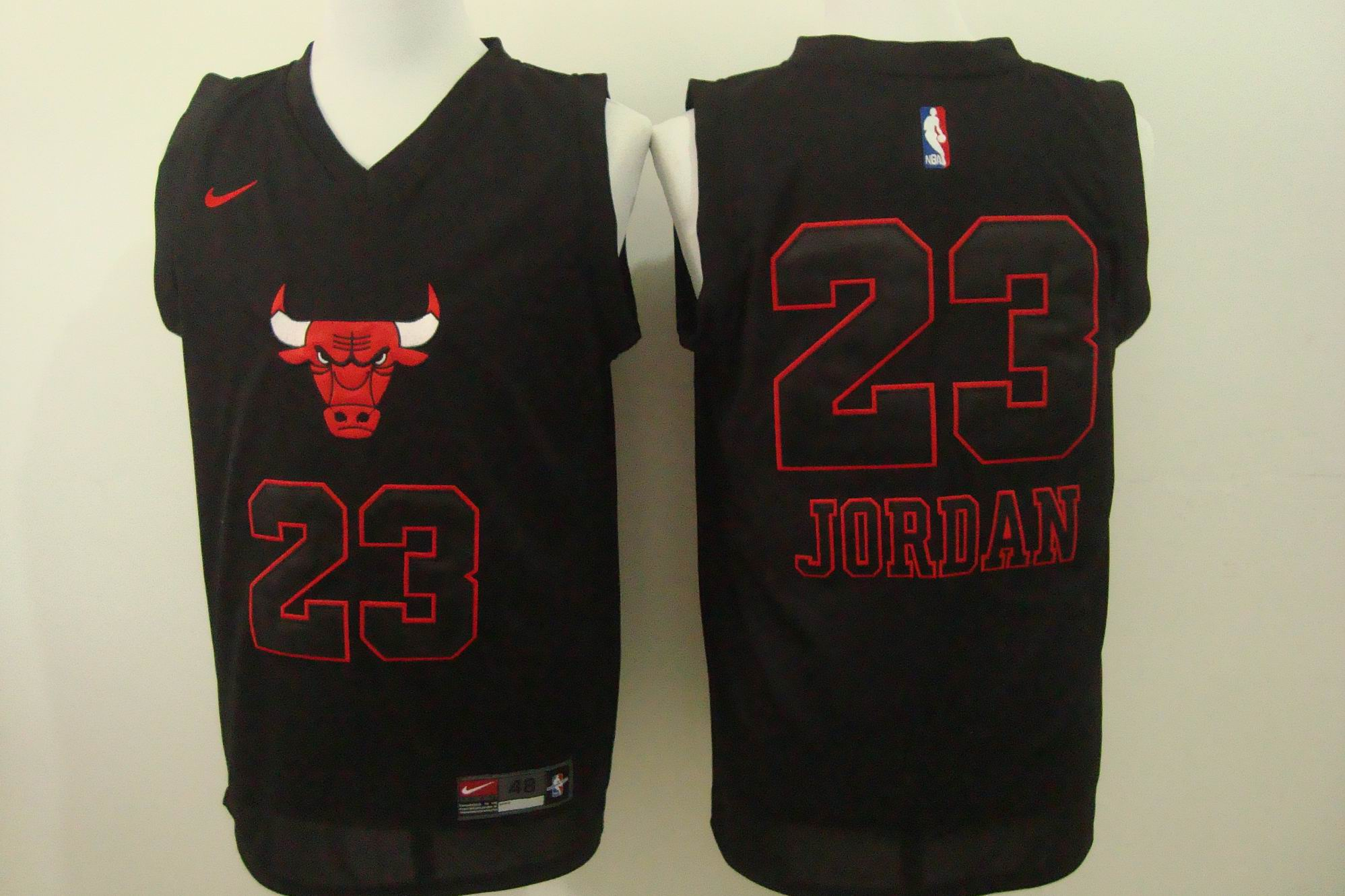 Men's Nike Chicago Bulls #23 Michael Jordan Black Bull Head Fashion Stitched NBA Jersey