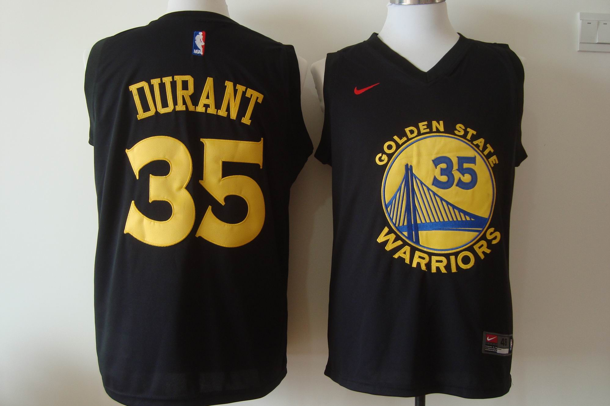 Men's Nike Golden State Warriors #35 Kevin Durant Black 2017-18 New Season Stitched NBA Jersey