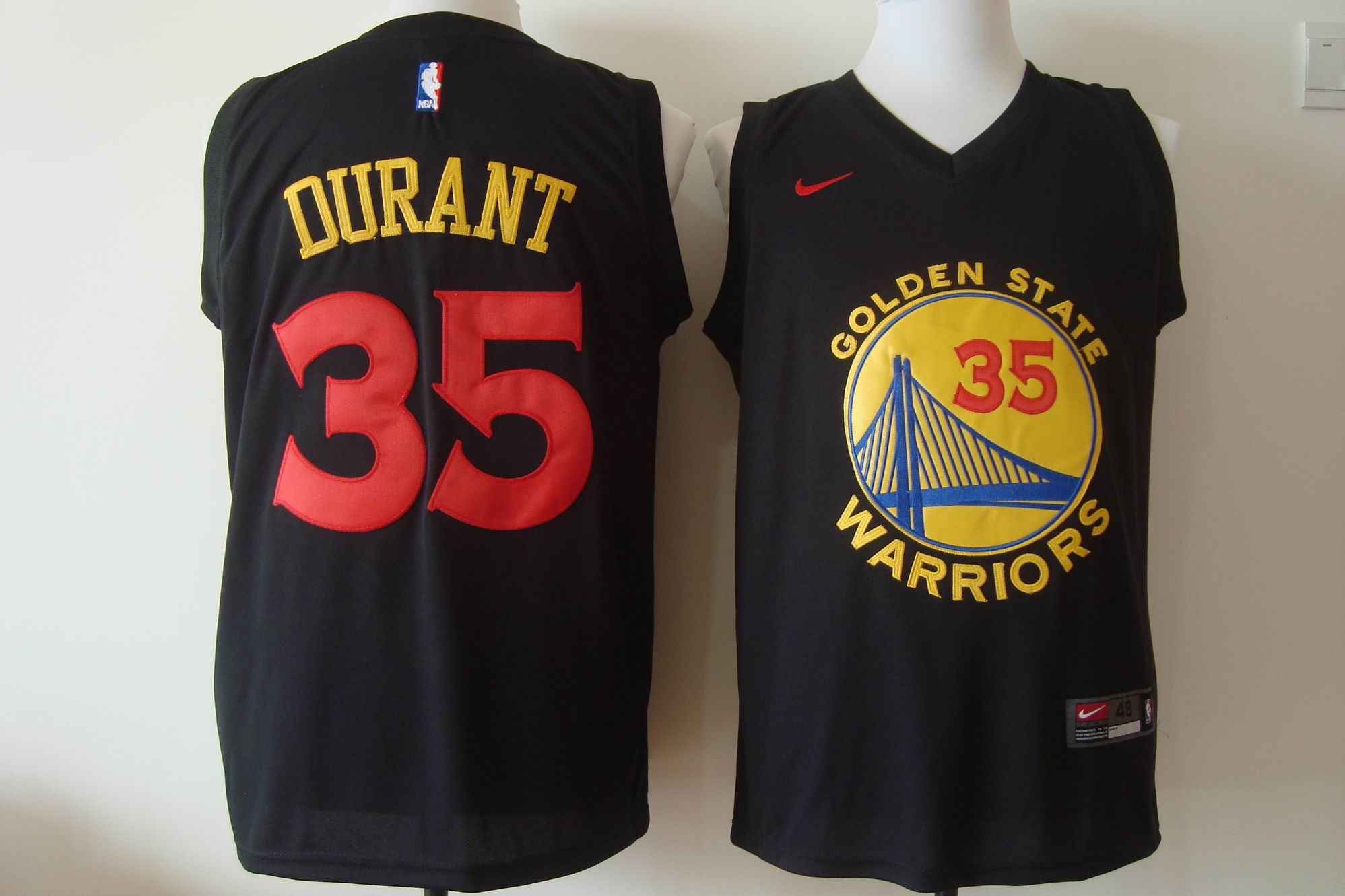 Men's Nike Golden State Warriors #35 Kevin Durant Black New Fashion Stitched NBA Jersey