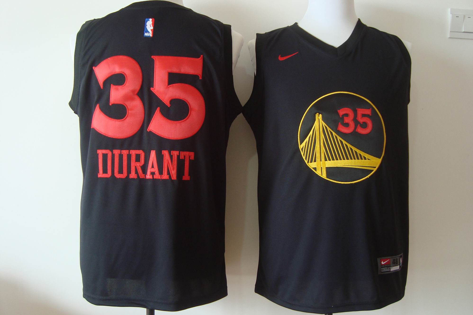 Men's Nike Golden State Warriors #35 Kevin Durant Black With Red Fashion Stitched NBA Jersey