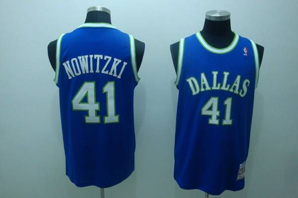 Mitchell and Ness Mavericks #41 Dirk Nowitzki Stitched NBA Blue Throwback Jersey