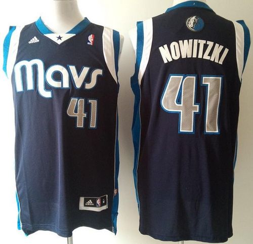Mavericks #41 Dirk Nowitzki Stitched NBA Blue Jersey