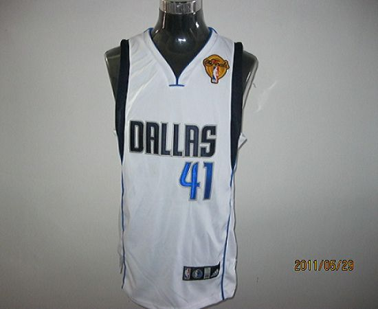 Mavericks 2011 Finals Patch #41 Dirk Nowitzki White Stitched NBA Jersey