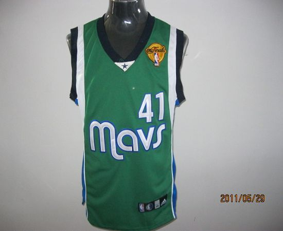 Mavericks 2011 Finals Patch #41 Dirk Nowitzki Green Stitched NBA Jersey