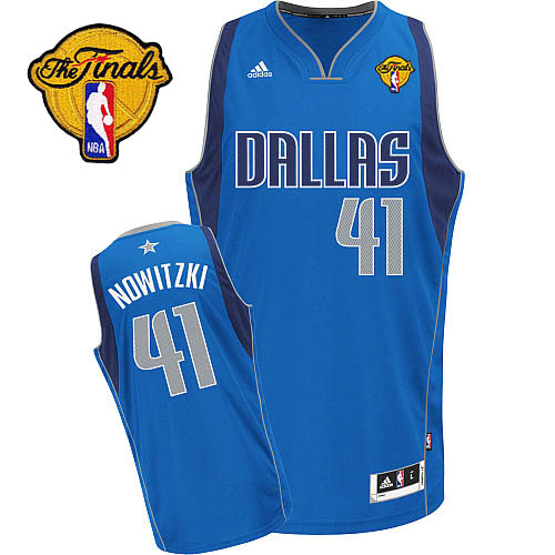 Mavericks 2011 Finals Patch #41 Dirk Nowitzki Revolution 30 Blue Stitched NBA Jersey