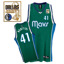 Mavericks 2011 Champion Patch #41 Dirk Nowitzki Green Stitched NBA Jersey