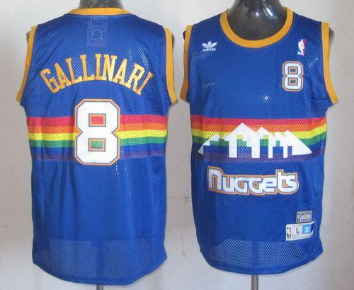 Nuggets #8 Danilo Gallinari Light Blue Throwback Stitched NBA Jersey
