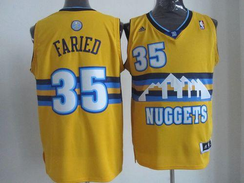 Nuggets #35 Kenneth Faried Yellow Alternate Stitched NBA Jersey