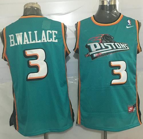 Pistons #3 Ben Wallace Green Nike Throwback Stitched NBA Jersey