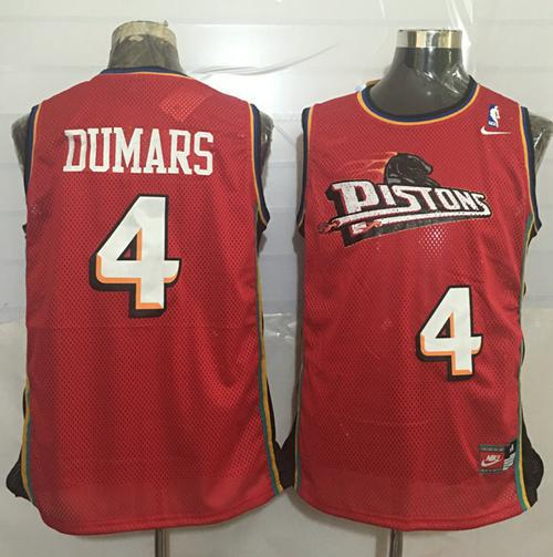 Pistons #4 Joe Dumars Red Nike Throwback Stitched NBA Jersey