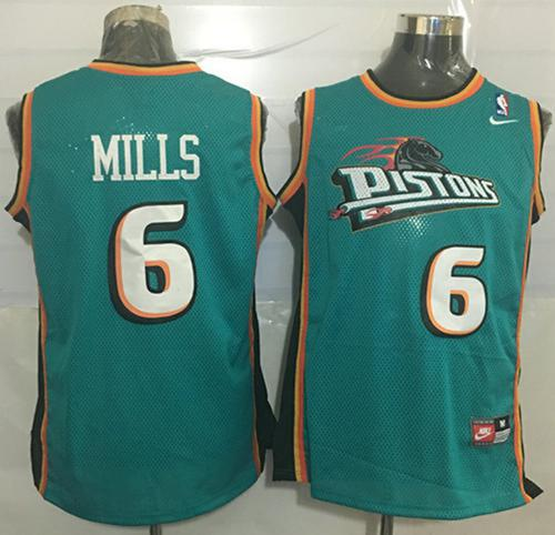 Pistons #6 Terry Mills Green Nike Throwback Stitched NBA Jersey