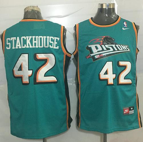 Pistons #42 Jerry Stackhouse Green Nike Throwback Stitched NBA Jersey