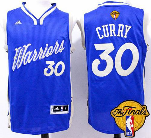 Warriors #30 Stephen Curry Blue 2015-2016 Christmas Day The Finals Patch Stitched NBA Jersey