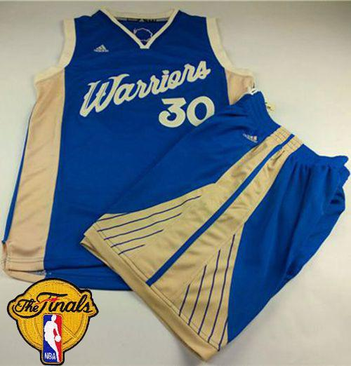 Warriors #30 Stephen Curry Blue 2015-2016 Christmas Day A Set The Finals Patch Stitched NBA Jersey