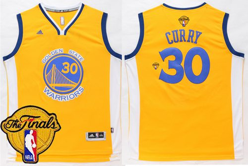 Warriors #30 Stephen Curry Gold The Finals Patch Stitched NBA Jersey