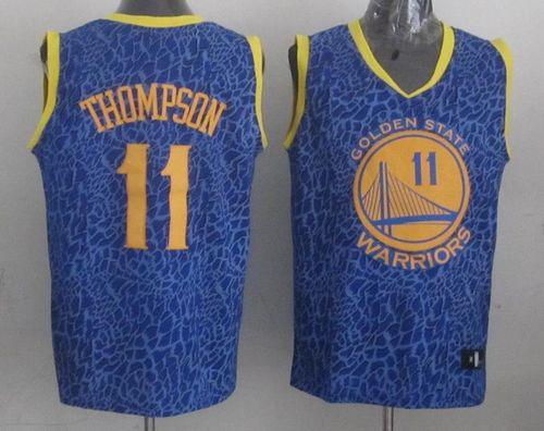 Warriors #11 Klay Thompson Blue Crazy Light Stitched NBA Jersey