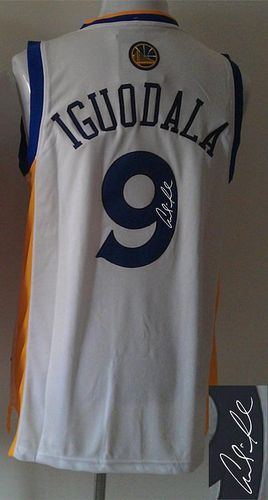 Revolution 30 Autographed Warriors #9 Andre Iguodala White Stitched NBA Jersey