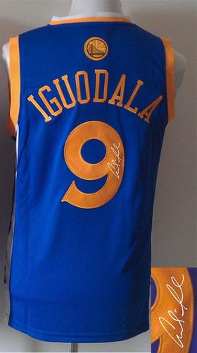 Revolution 30 Autographed Warriors #9 Andre Iguodala Blue Stitched NBA Jersey