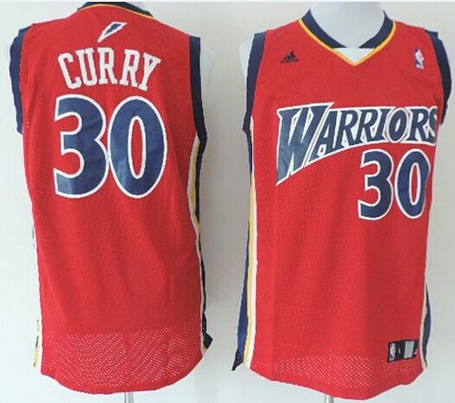 Warriors #30 Stephen Curry Red Throwback Stitched NBA Jersey