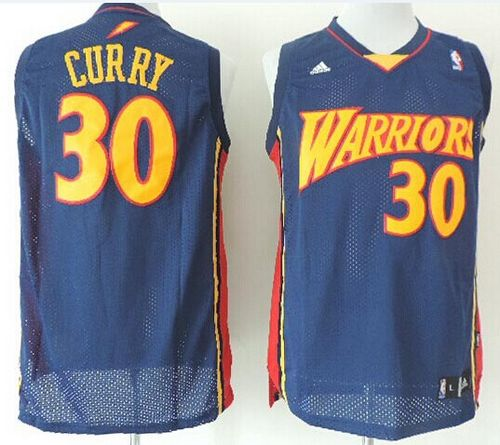 Warriors #30 Stephen Curry Navy Blue Throwback Stitched NBA Jersey