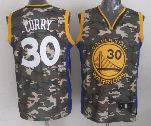 Warriors #30 Stephen Curry Camo Stitched NBA Jersey