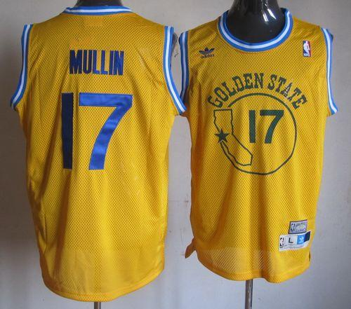 Warriors #17 Chris Mullin Gold Throwback Stitched NBA Jersey