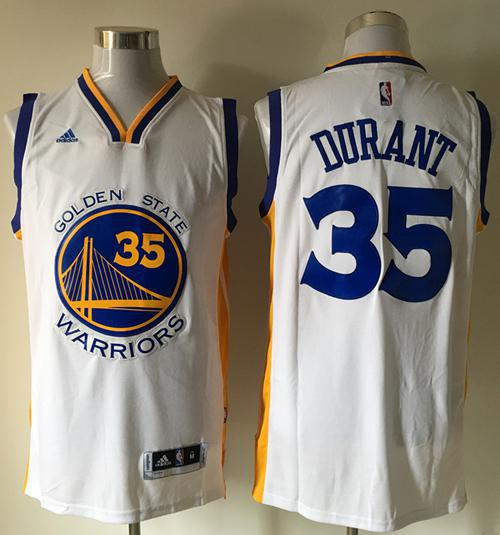 Warriors #35 Kevin Durant White Home Stitched NBA Jersey