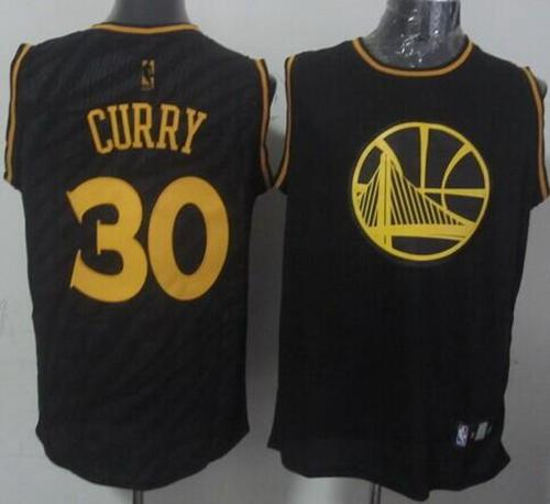 Warriors #30 Stephen Curry Black Precious Metals Fashion Stitched NBA Jersey