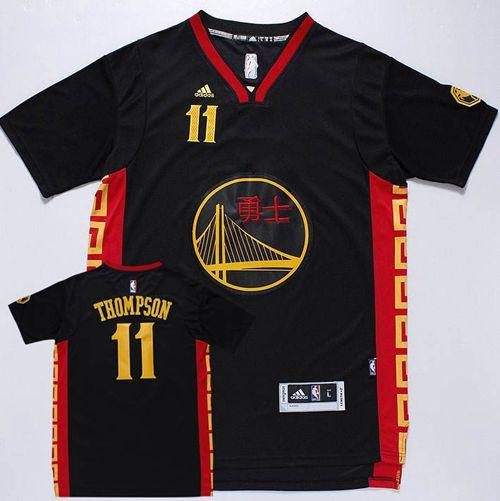 Warriors #11 Klay Thompson Black Slate Chinese New Year Stitched NBA Jersey