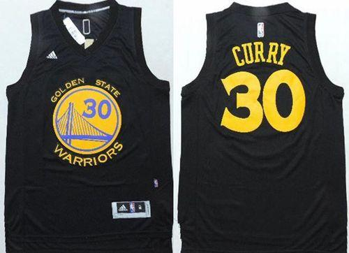 Warriors #30 Stephen Curry Black Fashion Stitched NBA Jersey