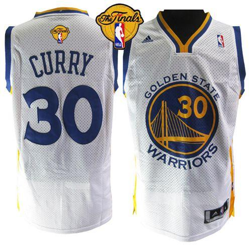 Warriors #30 Stephen Curry White The Finals Patch Stitched NBA Jersey