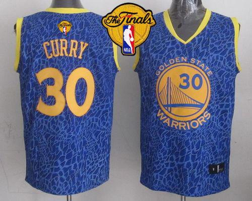 Warriors #30 Stephen Curry Blue Crazy Light The Finals Patch Stitched NBA Jersey