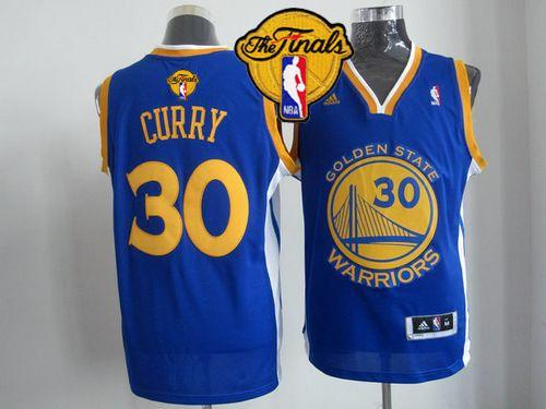 Revolution 30 Warriors #30 Stephen Curry Blue The Finals Patch Stitched NBA Jersey