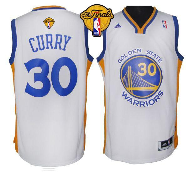 Revolution 30 Warriors #30 Stephen Curry White The Finals Patch Stitched NBA Jersey