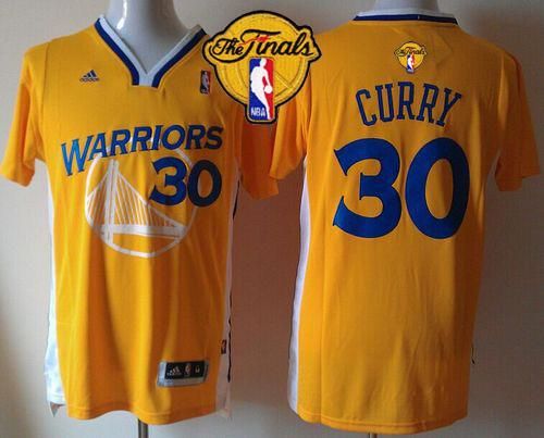 Warriors #30 Stephen Curry Gold Alternate The Finals Patch Stitched NBA Jersey