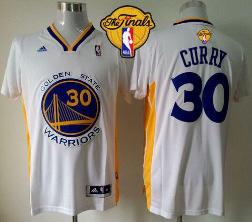 Revolution 30 Warriors #30 Stephen Curry White Alternate The Finals Patch Stitched NBA Jersey