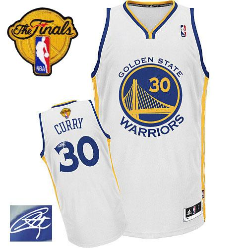 Revolution 30 Autographed Warriors #30 Stephen Curry White The Finals Patch Stitched NBA Jersey