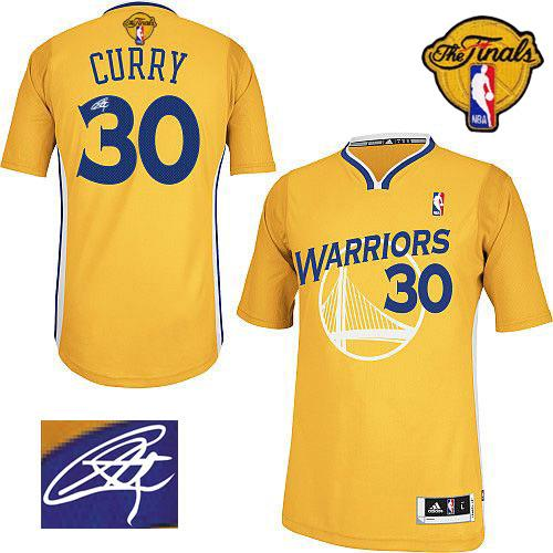 Revolution 30 Autographed Warriors #30 Stephen Curry Gold The Finals Patch Stitched NBA Jersey